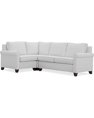 Cameron Roll Arm Upholstered Right Arm 3-Piece Corner Sectional, Polyester Wrapped Cushions, Performance Twill Warm White