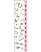 Kid'O Design Studio ABC Growth chart, Personalized Kids room decor, Girl's pink Nursery, Alphabet Canvas growth chart, Pink, Measures babies to adults – 24-60 inches