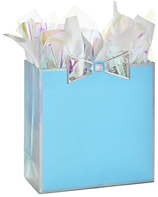 """Hallmark Signature 10"""" Large Gift Bag with Tissue Paper (Blue with Metallic Bow) for Mother's Day, Birthdays, Baby Showers, Bridal Showers, Bachelorette Parties, Any Occasion"""