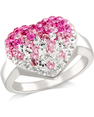 Forever Last Sterling Silver Pink & White Heart Ring Size - 7