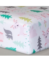 Fitted Crib Sheet Forest Frolic - Cloud Island - Pink