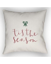 """The Holiday Aisle Tis the Season Indoor/Outdoor Throw Pillow HLDY1187 Size: 20"""" H x 20"""" W x 4"""" D, Color: White / Red / Green"""