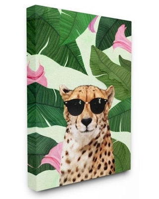 Stupell Industries Fashion Cheetah Funny Flower Tropical Painting Canvas Wall Art by Ziwei Li