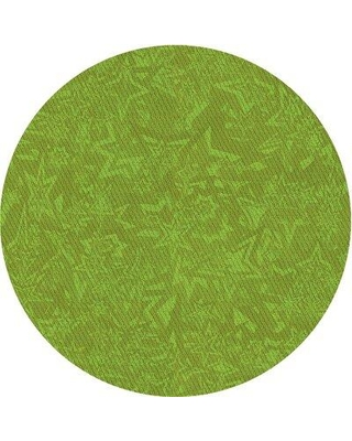 East Urban Home Abstract Wool Green Area Rug X113647503 Rug Size: Round 5'