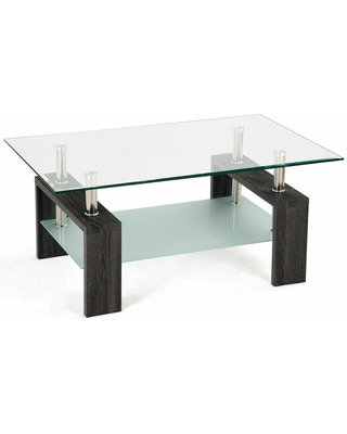 Rectangular Tempered Glass Coffee Table with Shelf (Black)