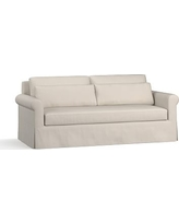 """York Roll Arm Slipcovered Deep Seat Sofa 84"""" with Bench Cushion, Down Blend Wrapped Cushions, Performance Everydaysuede(TM) Stone"""