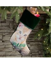 Woof & Meow Personalized Pet Photo Christmas Stocking in Green