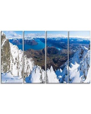 Design Art 'Frankton and Lake Aerial View Panorama' 4 Piece Photographic Print on Wrapped Canvas Set PT11611-271