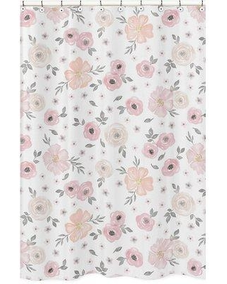 29 Off Sweet Jojo Designs Watercolor Floral Single Shower Curtain ShowerCurtain WatercolorFloral PK GY Color Light Gray Cream