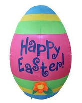 """The Holiday Aisle® Inflatable Cute Colorful Giant Easter Egg w/ Flower Decoration, Polyester, Size 33"""" L x 34"""" W x 49"""" H 