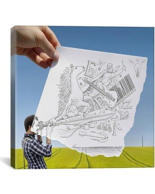 """iCanvas 'Pencil with Camera 30 - Photographer' by Ben Heine Photographic Print on Wrapped Canvas BHE22-01PC3-26X26 / BHE22-01PC3-18X18 Size: 18"""" H x 18"""" W x 0.75"""" D"""