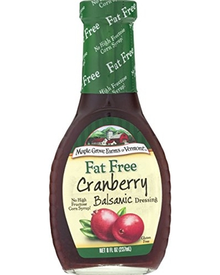 Maple Grove Farms Fat Free Salad Dressing, Cranberry Balsamic, 8 Ounce (Pack of 12)