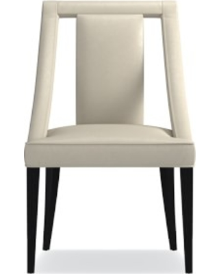 Sussex Dining Side Chair, Italian Distressed Leather, Ivory, Ebony Leg