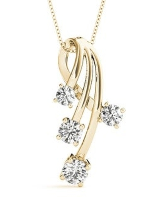 14KT Gold 0.75 CT Twisted Four-Stone Round Journey Pendant Necklace Charm Amcor Design (Yellow)