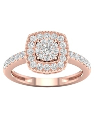 1/2ct TDW Diamond Cluster Halo Engagement Ring in 10k Gold by De Couer (7.5 - Rose)