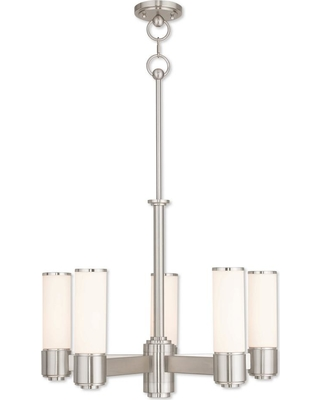 Livex Lighting Weston 5-Light Brushed Nickel Chandelier with Hand Blown Satin Opal White Glass Shade