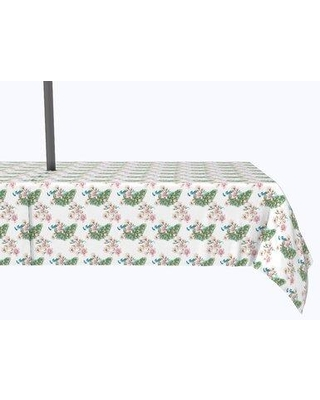 """Bloomsbury Market Vivo Watercolor Peacocks and Flowers Tablecloth X113021026 Size: 120"""" x 60"""""""