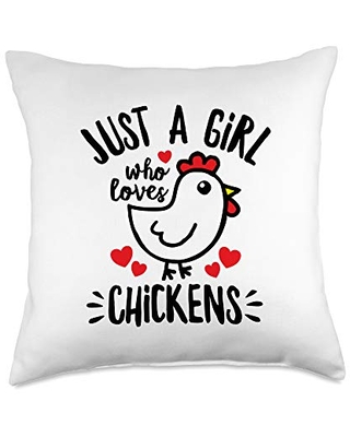 Detour Shirts Just a Girl who Loves Cute Cartoon Chicken Lover Throw Pillow, 18x18, Multicolor