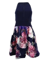 X By Xscape Women's Illusion Floral-Print Fit & Flare Dress (4, Navy Multi)