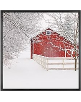 """Red Barn in the Snow by Cindy Taylor, 25 x 25"""", Wood Gallery, Black, No Mat"""
