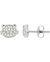Junior Jewels Kids' Sterling Silver Cubic Zirconia Cat Stud Earrings, Women's, White