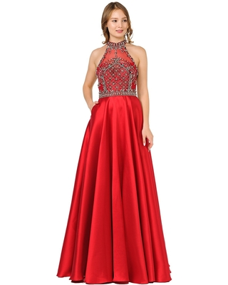 Poly USA - 8344 Bedazzled High Halter A-line Gown