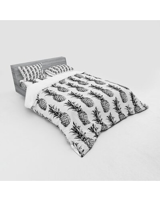 Hand Drawn Tropical Pineapple Fruit Duvet Cover Set East Urban Home Size: Queen Duvet Cover + 3 Additional Pieces