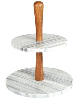 Creative Home 2-Tier Natural Marble and Acacia Wood Cake Dessert Stand, Fruit Plate, Pastry Server, Off-White