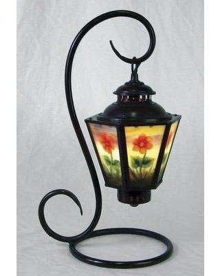 """World Menagerie Cayenna Reverse Painted Floral Coach 17"""" Arched Table Lamp W001035686"""