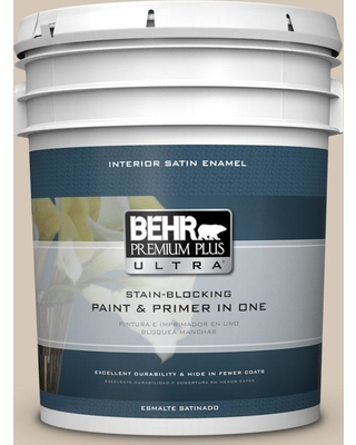 BEHR ULTRA 5 gal. #MQ3-10 French Beige Satin Enamel Interior Paint and Primer in One