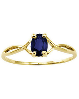 Birthstone Oval Solitare Ring, 14K Gold