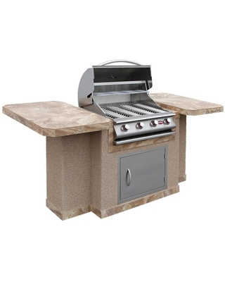 Cal Flame 45.25-in W x 90-in D x 41.5-in H Outdoor Kitchen Bar Counter with 4 Burners | BISTRO 404