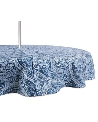 DII Anchors Print Outdoor Tablecloth 60x120 (Blue Paisley - 60 Round with Zipper)