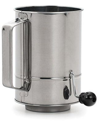 RSVP International Endurance Stainless Steel Crank Style Flour Sifter, 5 Cup   Sift Flour & Dry Ingredients for Baking   Manual Crank   Dishwasher Safe,Silver