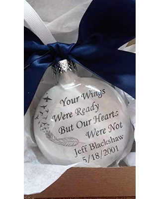 Deals For Memorial Ornament In Memory Christmas Your Wings Were Ready Our Hearts Were Not Personalized Gift