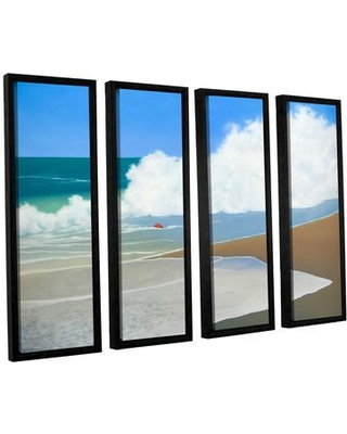 """Breakwater Bay Red Pail In The Sand 4 Piece Framed Painting Print Set BRWT2312 Size: 24"""" H x 32"""" W x 2"""" D"""