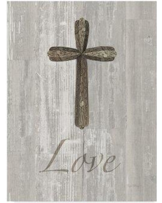 """Trademark Fine Art 'Words for Worship Love on Wood' Graphic Art Print on Wrapped Canvas WAP03662-CGG Size: 19"""" H x 14"""" W x 2"""" D"""