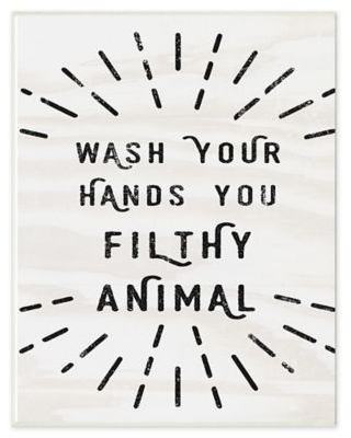 Wash Your Hands Filthy Animal 12.5-Inch x 18.5-Inch Wall Art