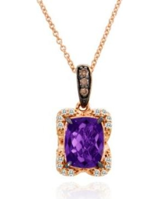 Le Vian Amethyst Candy Colors Amethyst, Vanilla Diamond, and Chocolate Diamond Pendant in 14k Strawberry Gold