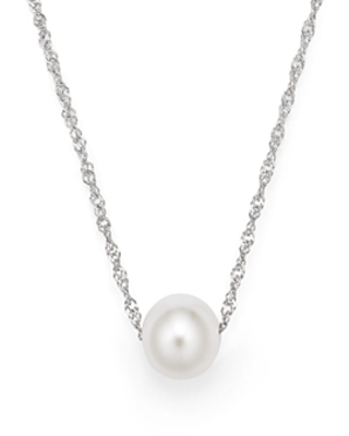 Cultured Freshwater Pearl Floating Pendant Necklace in 14K White Gold, 18