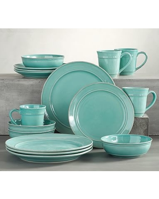 """Cambria Dinnerware, 11 3/4"""" Dinner Plate 16-Piece Soup Bowl Set, Turquoise"""