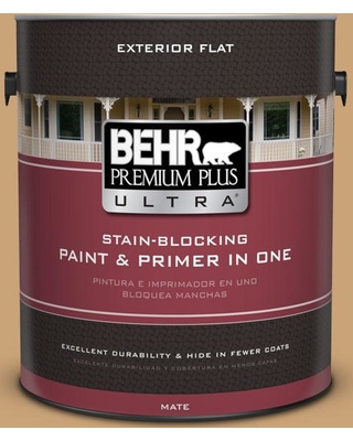 BEHR ULTRA 1 gal. #BIC-30 Corkboard color Flat Exterior Paint and Primer in One