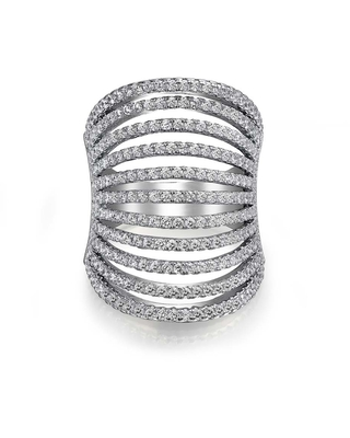Geometric Boho Cubic Zirconia Pave CZ Full Finger Armor Statement Multi Band Ring For Women For Teen 925 Sterling Silver (9)