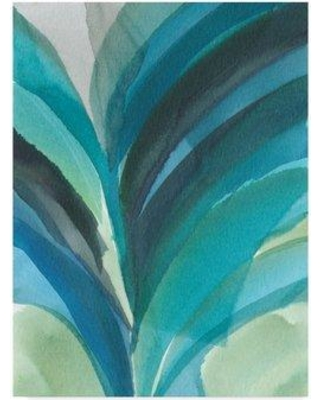 "Ebern Designs 'Big Blue Leaf II' Watercolor Painting Print on Wrapped Canvas ENDE3222 Size: 24"" H x 18"" W x 2"" D"
