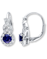 Blue & White Lab-Created Sapphire Earrings Sterling Silver