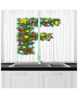 2 Piece Letter F Kitchen Curtain East Urban Home