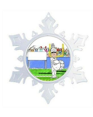 The Holiday Aisle® Personalized Friendly Folks Cartoon Snowflake Marching Band Bass Drum Christmas Holiday Shaped Ornament, Plastic in Clear Wayfair