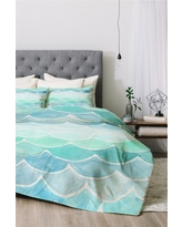 Green Wonder Forest Mermaid Scales Comforter Set (Queen) 3pc - Deny Designs, Blue Green