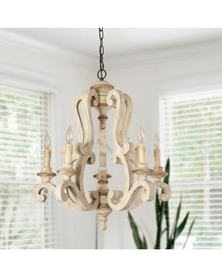 Fellers 5 - Light Candle Style Empire Chandelier with Wood Accents