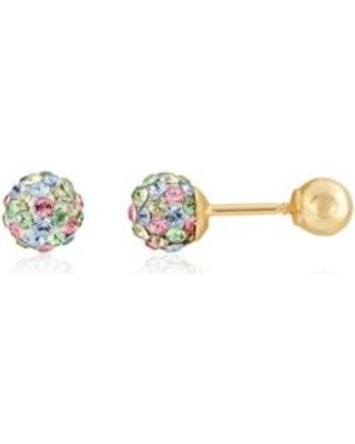 Belk & Co. Multi Multi-Color Crystal Baby Studs in 14K Yellow Gold